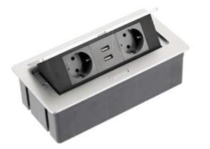 El. zásuvka SOFT Aluminium 2x 230V 16A + 2x USB nab.