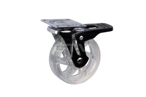 Kolečko SHIFT s kovovou plotnou pr.50mm s brzdou - TRANSPARENT (26194)