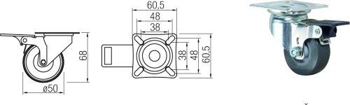 Kolečko zátěžové pr.50mm s brzdou 40kg výprodej