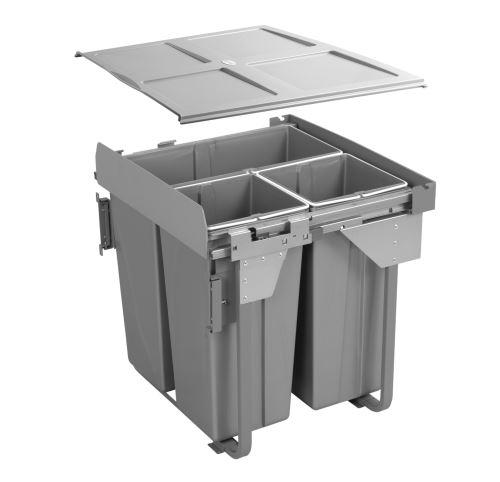 Odpadkový koš PRACTI ECO 600mm 1x34L+2x17L s úchytem na dvířka GTV