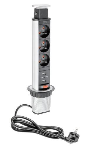 El. zásuvka VÝSUVNÁ SLIM 3x 230V 16 A + 2x USB stříbrná pr.60mm