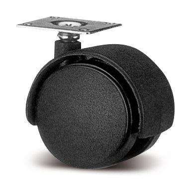 Kolečko s kovovou plotnou pr.40mm - Černé