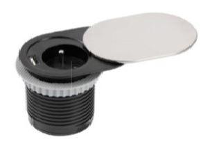El. zásuvka SLIDE Nerez - ovál 1x 230V 16A + 1x USB nab.  pr.otv.60mm