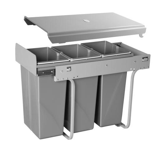 Odpadkový koš PRACTI ECO 300mm 3x10L ruční vytahování GTV