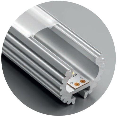 Šatní tyč LED kulatá pr.25mm GLAX 2m + kr. mléčná
