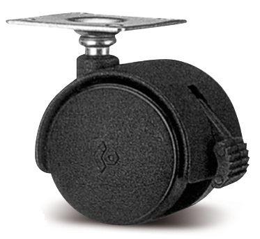 Kolečko s kovovou plotnou a brzdou pr.40mm - Černé